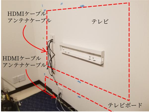 壁掛けテレビの隠蔽配線の写真
