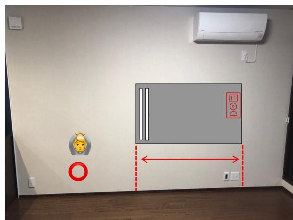 壁掛け金具とコンセント増設  モール処理