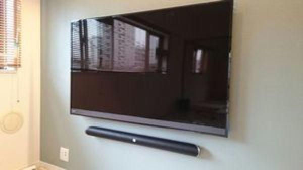 東京都大田区マンションにて テレビ壁掛け工事 JBLサウンドバー 配線隠蔽