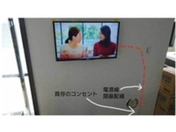 東京都台東区にて マンション外壁側のGL工法壁へ 32インチ壁掛け工事