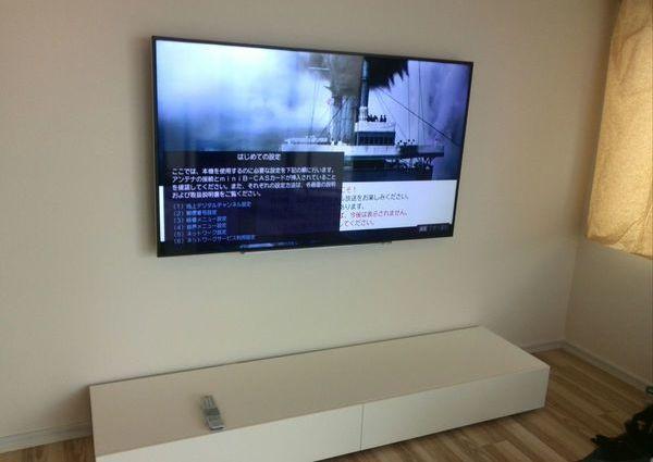 65インチテレビ壁掛け工事 隠蔽配線 神奈川県川崎市にてのサムネイル