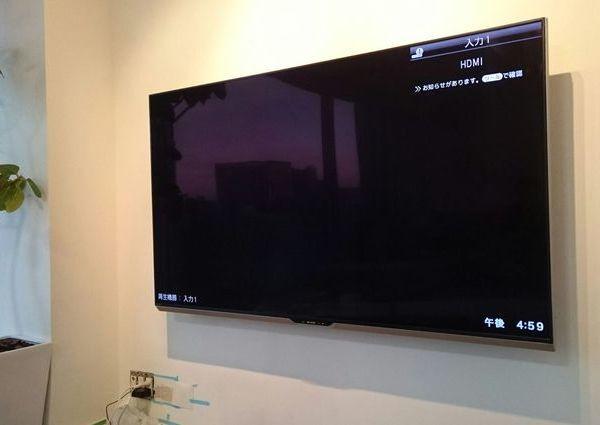 東京都港区にて 60インチ壁掛けテレビ 隠蔽配線 のサムネイル