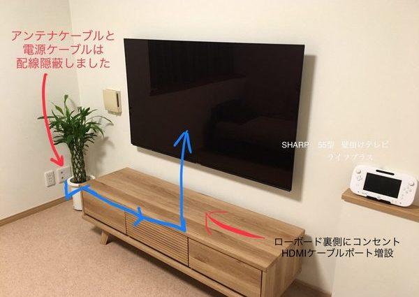東京都墨田区にて55型壁掛けテレビ 電源増設 配線隠蔽工事のサムネイル
