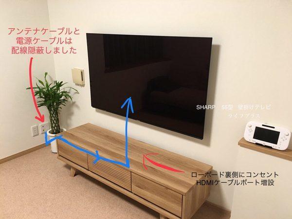 東京都墨田区にて55型壁掛けテレビ 電源増設 配線隠蔽工事