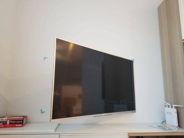 東京都大田区戸建てにて 50型壁掛けテレビの設置