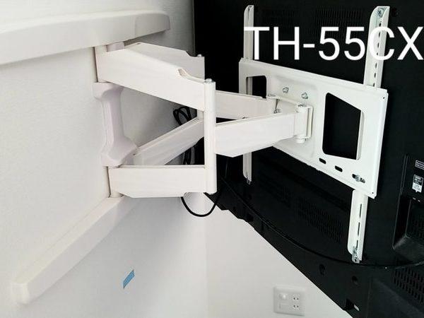 神奈川県横浜市にて 壁掛けテレビ工事 左右角度可動式配線隠蔽