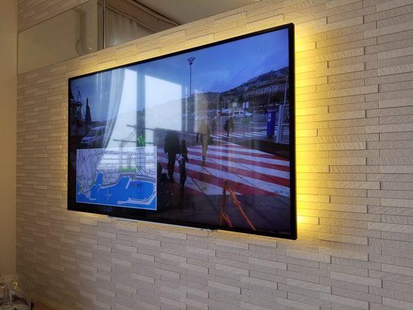 東京都武蔵野市にて 55型壁掛けテレビ工事