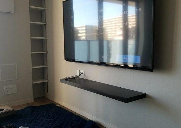 神奈川県相模原市にて 壁掛けテレビ 棚の取り付け工事のサムネイル