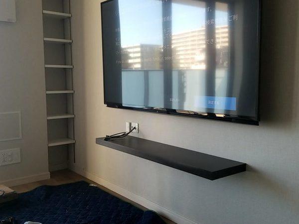 神奈川県相模原市にて 壁掛けテレビ 棚の取り付け工事