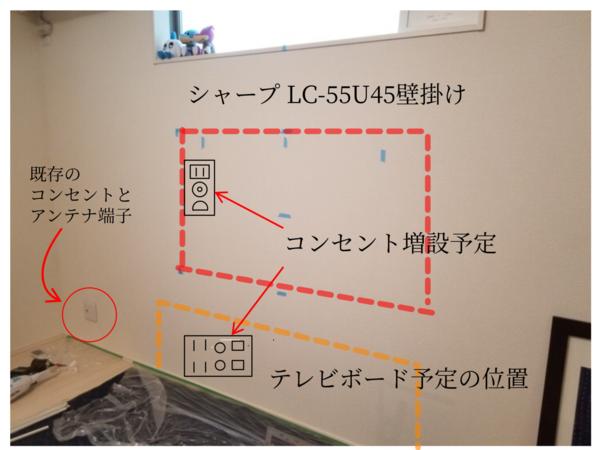 神奈川県川崎市一戸建てにて 壁掛けテレビと隠蔽配線工事